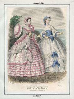 Le Follet Thursday, August 1861 v. Civil War Fashion, 1800s Fashion, 19th Century Fashion, Edwardian Fashion, Vintage Fashion, Vintage Gowns, Mode Vintage, Vintage Outfits, Historical Costume
