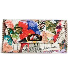 Main Image - Christian Louboutin Vero Dodat Trash Print Patent Leather Clutch