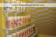 Trying to fit food storage in an awkward under-the-stairs pantry? Come see how I was able to build storage for over 90 pantry cans! ~ Project Simple Home Emergency Food Storage, Food Storage Organization, Organization Skills, Emergency Preparedness, Storage Ideas, Organizing Ideas, Pantry Shelving, Bright Paintings, Cool Store
