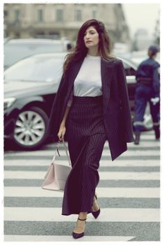 Paris Fashion Week Street Style Snapshot -  The art of wearing a man's suit like a lady.