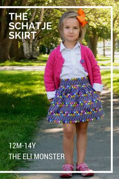 """Schatje is Dutch for """"little treasure"""" and what a treasure of a skirt this is! The Schatje Skirt PDF sewing pattern features a contoured flat front waist and an elasticized back waistband for easy on and off with three length options (knee, tea, and maxi) Skirt Patterns Sewing, Clothing Patterns, Pattern Sewing, Kids Clothing, Diy Sewing Projects, Sewing Projects For Beginners, Sewing Diy, Tea Length Skirt, Skirts With Pockets"""