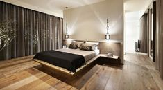 Large Brown Curtains Windows With Antique Lamps And Solid Wood Floor For Modern Bedroom Design