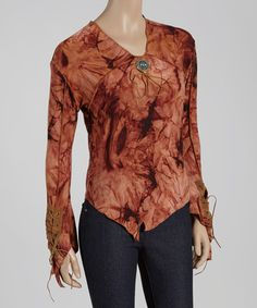 Look what I found on #zulily! Rust Abstract V-Neck Top #zulilyfinds