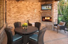 Drees Homes Colinas II A Covered Patio with fireplace