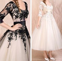 New Stock Tea Length A-Line Wedding Dresses Prom Ball Evening Gowns Size2 to16