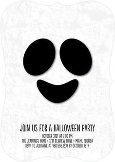 Your Halloween party will be a haunting smash with this one-of-a-kind white ghost invitation.