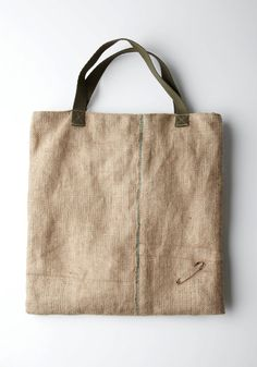 burlap & Muslin Tote with a Flip Pouch