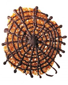 Spiderweb Florentines! Great Halloween-ification of a traditional treat. (Or save time and decorate store-bought)