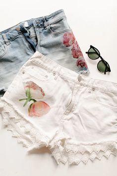 jojotastic - DIY // floral photo transfer shorts