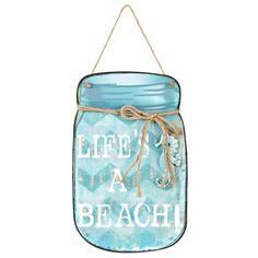 "Life's a Beach Mason Jar Plaque, 9"" x 15""  //  $9.99  Home Decor Quotes- Wall art life's a beach mason jar Home Decor Quotes, Wall Art Quotes, Beach Mason Jars, Fashion Branding, Wall Decor, Fun, Gifts, Style, Wall Hanging Decor"