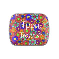 Hippy Treats Retro Flowers Candy Tins - $4.63 - Hippy Treats Retro Flowers Candy Tins - by #RGebbiePhoto @ #zazzle - #Hippy #Flowers #Retro - Hippy Treats! Or add your own text! Colorful retro style flowers, hippy style in bright colors! Large petal flowers in a jumbled assortment. 70s Hippy look, great throwback item! Pink themed, perfect for girly girls.