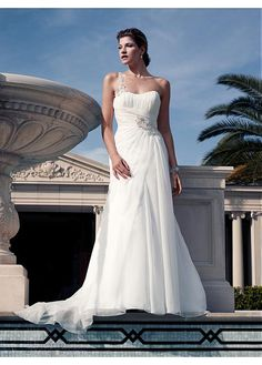 CHARMING CHIFFON SHEATH ONE SHOULDER NECKLINE NATURAL WAISTLINE WEDDING DRESS IVORY WHITE LACE BRIDAL GOWN