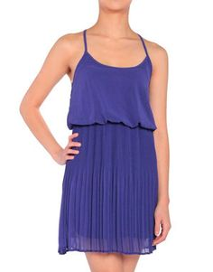 Strappy Blue Pleated Dress