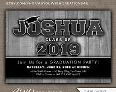 Printable Graduation Party Invitation for Boy - Graduation Announcement - Perfect for a High School or College Graduation - Gray and Black Boy Printable, Printable Invitations, Party Printables, Baby Sprinkle Invitations, Baby Shower Invitations For Boys, College Graduation Parties, Grad Parties, Graduation Party Invitations, Graduation Announcements