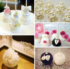 Collection of cute wedding cake pops
