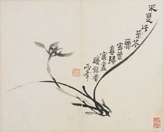 Luo Ping, Orchid, 1780 (source). This image was painted using the artist's fingertip and nail, and has a poem celebrating the end of winter.