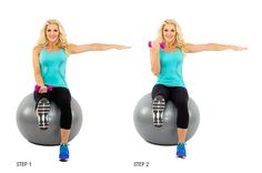 Stability Ball Balance Curl: Rev up your bicep curl with a stability ball and some serious balance work to engage your core. (1) Sit straight up on a stability ball with both feet on the ground in front of you and holding a dumbbell in your right hand, palm up. (2) Lift your right foot off the ground until it is fully extended in front of you. Then, lift your left arm and extend to the side at shoulder level. (3) Once you are balanced, perform 15 bicep curls while holding this balanced…