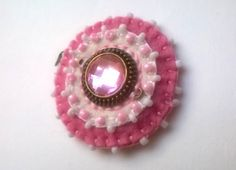 Pink pendant with beads and cabochon pink and white by grabacoffee