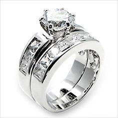 1.25ct cz Round cut Bridal Wedding Ring 2 pc set Platinum Plated
