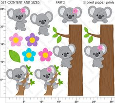 Koala clipart - Koala Bear Clip art and Digital paper set Photoshop Elements, Educational Activities, Project Yourself, Print And Cut, Clipart, Planner Stickers, Party Supplies, Greeting Cards, Baby Shower