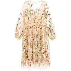 Embroidered dress (€15) ❤ liked on Polyvore featuring dresses, embroidered dress, embroidered mesh dress, ruching dress, beige long sleeve dress and v neck ruched dress