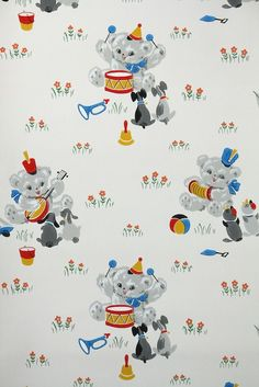 Vintage Wallpaper by the Yard - Children's Wallpaper with Teddy Bear Drumming, Little Puppies, and Flowers, Nursery Wallpaper Nursery Wallpaper, Retro Wallpaper, Kids Wallpaper, Pattern Wallpaper, Childrens Wallpaper Uk, Happy Kids Quotes, Children's Day Gift, Baby Equipment, Little Puppies