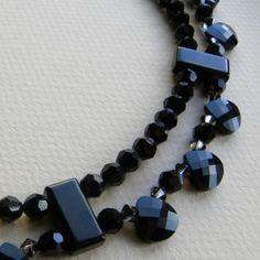 Black Onyx & Swarovski Crystal Briolette Necklace - Necklaces & Pendants