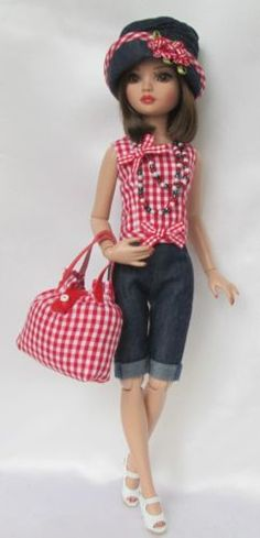ELLOWYNE'S COUNTRY-GIRL CHIC OUTFIT with Denim Hat, Necklace & Gingham Handbag, by ssdesigns via eBay, SOLD 4/25/15 BIN $49.99