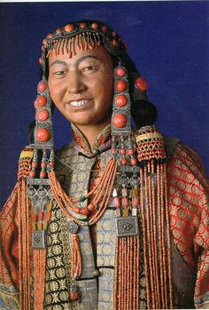 Mongolian woman's costume of the Khorchin region in the National Museum, Copenhagen, Denmark  Miguel C, via Flickr