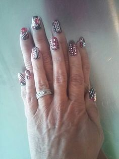Red & black party nails