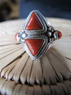 Tibetan Tribal Jewelry Red Coral and Sterling Silver Ring