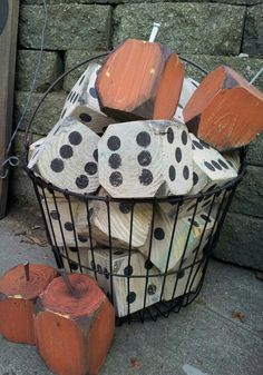 4x4 scrap wood and paint samples were used to make these lawn dice and pumpkins. Visit & Like our Facebook page! https://www.facebook.com/pages/Rustic-Farmhouse-Decor/636679889706127