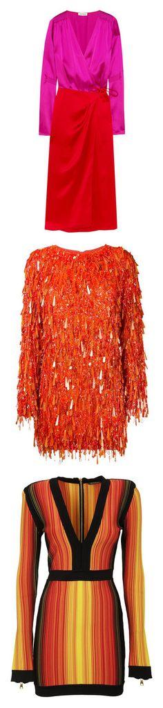 """Vestido noite"" by jessica-furtado-naves ❤ liked on Polyvore featuring dresses, attico, tie dress, satin wrap dress, red satin dress, wrap tie dress, red wrap dress, vestidos, ashish and orange"