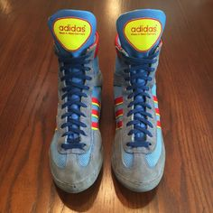 RARE Adidas West German Blue '88 Combat Speed Wrestling Shoes - Fit Size 9 | eBay