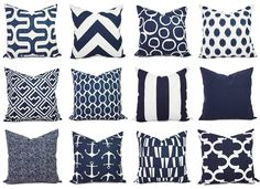 Navy Pillow Covers! Pick two navy and white throw pillow covers. These blue cushion covers fit a 20 x 20 pillow insert and are 100% cotton.