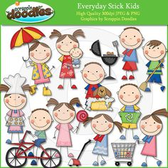 Everyday Stick Kids Clip Art by ScrappinDoodles on Etsy, $3.99