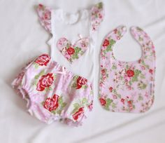 Handmade Girl singlet and nappy cover set with matching bib. Sizes 000-2 Available at www.madeit.com.au/ameandela