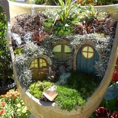 it's like a backwards fairy house out of a broken pot, never thought about this.