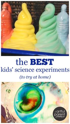 A collection of the very best kids science experiments to try at home, including elephant toothpaste, geysers, dry ice bubbles, milky fireworks, and more.