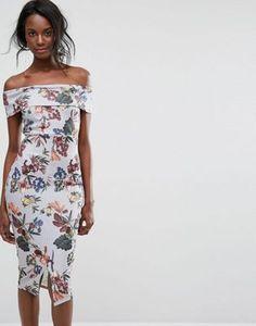 Boohoo Floral Off The Shoulder Midi Dress