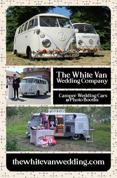 Travel in one of our 50 year old vintage VW campers! Wedding Car Hire, Wedding Company, Vw Camper, Campers, White Vans, Vw T1, 50 Years Old, Car Photos, Car Ins