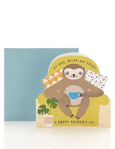 Buy the Dad Sloth Father's Day Card from Marks and Spencer's range. Happy Fathers Day Friend, Sloth Drawing, Harmony Art, Easy Fathers Day Craft, Happy Birthday Meme, Card Sentiments, Cards For Friends, Cute Illustration, Cute Stickers