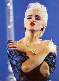 """Madonna on set of True Blue, 1986 "" Madonna True Blue, Madonna 80s, Madonna Outfits, Lady Madonna, Verona, Divas, Best Female Artists, Female Singers, New Wave Music"