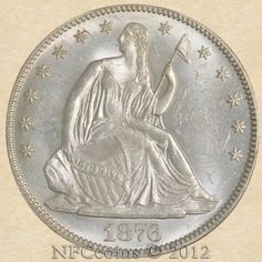 1876 Seated Liberty Half MS64 PCGS, obverse.