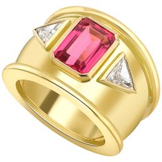Theo Fennell Pink Spinel Diamond Gold Bombe Ring