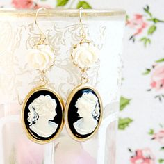 Black Cameo and Rose Earrings by NestPrettyThingsShop on Etsy, $25.00