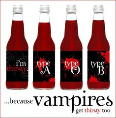 "In honor of my shiny new Twilight DVD, I have a little vampire-themed viewing party in the works, which should be FUN! We'll definitely be having ""Blood-Ri"