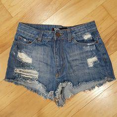 "BDG High Rise cheeky Shorts BDG High Rise cheeky Shorts. 100% cotton. Total length is 11"". 1 1/2"" inseam. BDG Shorts Jean Shorts"