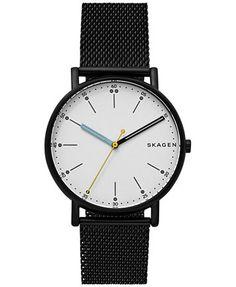 Skagen Men's Signature Black Stainless Steel Mesh Bracelet Watch 40mm SKW6376    macys.com