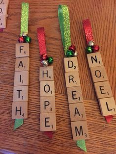 More scrabble ornaments! Personalised Christmas Decorations, Christmas Ornament Crafts, Diy Christmas Gifts, Christmas Projects, Holiday Crafts, Christmas Holidays, Christmas Ideas, Christmas Neighbor, Personalised Gifts